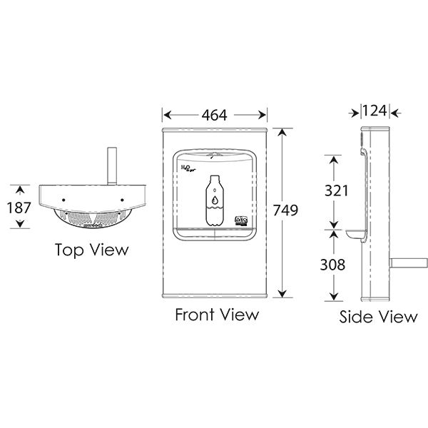 wall mounted bottle filler dimensions
