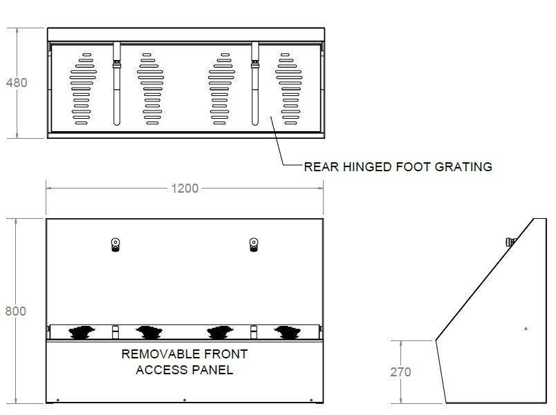 double wudu ritual foot wash trough dimensions