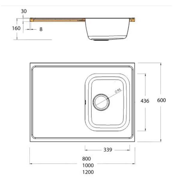 single bowl single drainer catering sink top dimensions
