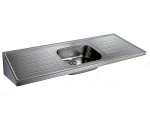 Hospital Single Bowl Double Drainer Sink Top image