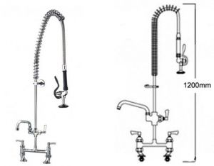 Pre Rinse Twin Catering Tap with Pot Filler image
