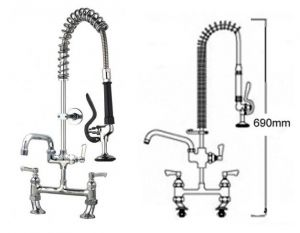 Short Pre Rinse Twin Catering Tap with Pot Filler image